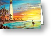 Location Art Greeting Cards - Lighthouse Sunrise Greeting Card by Riley Geddings