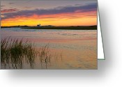 New England Lighthouse Greeting Cards - Lighthouse Sunset Greeting Card by Bill  Wakeley