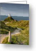 Wales Greeting Cards - Lighthouse Twr Mawr Greeting Card by Adrian Evans