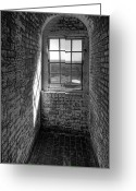 Georgia Greeting Cards - Lighthouse Window  Black and White Greeting Card by Peter Tellone