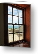Window Panes Greeting Cards - Lighthouse Window Greeting Card by Methune Hively
