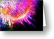 Sun Abstract Digital Art Greeting Cards - Lighting Explode Greeting Card by Setsiri Silapasuwanchai