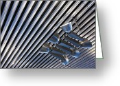 Horizontal Lines Greeting Cards - Lighting on Corrugated Style Ceiling Greeting Card by Jeremy Woodhouse