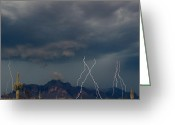 Gold Mountain Mixed Media Greeting Cards - Lighting on the Superstition Mountain Greeting Card by Brian Lambert