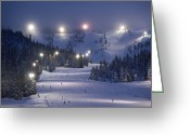 Pacific Coast States Greeting Cards - Lighting Over The Mt. Hood Skibowl Greeting Card by Jim Richardson