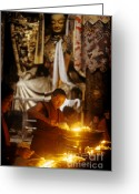 Tibetan Buddhism Greeting Cards - Lighting Puja Candles - Jokhang Temple Tibet Greeting Card by Craig Lovell