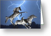 Prints Greeting Cards - Lightning At Horse World BW Color Print Greeting Card by James Bo Insogna