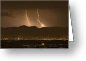 Silhouettes Greeting Cards - Lightning Bolt Strikes Out Of A Typical Greeting Card by Mike Theiss
