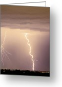 Lightning Bolt Pictures Greeting Cards - Lightning Bolt With a Fork Greeting Card by James Bo Insogna