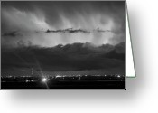 Lightning Bolt Pictures Greeting Cards - Lightning Cloud Burst Black and white Greeting Card by James Bo Insogna
