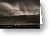 Lightning Bolt Pictures Greeting Cards - Lightning Cloud Burst Boulder County Colorado IM39 Sepia Greeting Card by James Bo Insogna