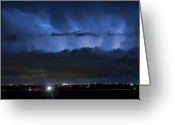 The Lightning Man Greeting Cards - Lightning Cloud Burst Greeting Card by James Bo Insogna