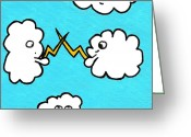 Storm Drawings Greeting Cards - Lightning Fight Greeting Card by Jera Sky