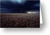 Midwestern States Greeting Cards - Lightning Flashes Above A Kansas Wheat Greeting Card by Cotton Coulson