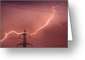 Dusk Greeting Cards - Lightning Hitting An Electricity Pylon Greeting Card by Peter Lawson