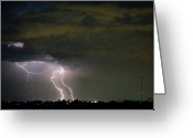 Storm Posters Greeting Cards - Lightning Man in the Clouds Greeting Card by James Bo Insogna