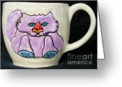 Wheel Thrown Greeting Cards - Lightning Nose Kitty Mug Greeting Card by Joyce Jackson