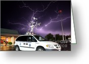"\\\""storm Chasers\\\\\\\"" Greeting Cards - Lightning, Nssl Mobile Mesonet Greeting Card by Science Source"