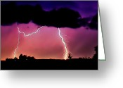 Storm Digital Art Greeting Cards - Lightning over the Plains II Greeting Card by Ellen Lacey