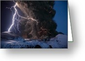 Atmospheric Greeting Cards - Lightning Pierces The Erupting Greeting Card by Sigurdur H. Stefnisson