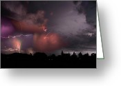 Rain Cloud Greeting Cards - Lightning Pioneeer Valley Arizona July 21 2012 Greeting Card by Brian Lockett