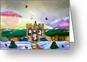 Crayon Painting Greeting Cards - Lightning Portal Greeting Card by Jane Tripp