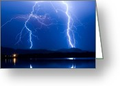 Thunderstorms Greeting Cards - Lightning Storm 08.05.09 Greeting Card by James Bo Insogna
