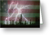 "\""lightning Strike\\\"" Greeting Cards - Lightning Storm in the USA Desert Flag Background Greeting Card by James Bo Insogna"