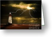 Sky Greeting Cards - Lightning Storm Greeting Card by Meirion Matthias