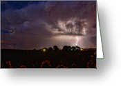 Lightening Storm Greeting Cards - Lightning Stormy Weather of Sunflowers Greeting Card by James Bo Insogna