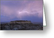 Wyoming Greeting Cards - Lightning Strikes Above A Butte Greeting Card by Joel Sartore