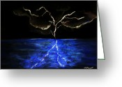 Lighting Pastels Greeting Cards - Lightning Strikes Greeting Card by Melvin Moon