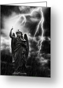 Raining Photo Greeting Cards - Lightning Strikes the Angel Gabriel Greeting Card by Christopher Elwell and Amanda Haselock