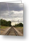 Typhoon Greeting Cards - Lightning Striking By The Train Tracks Greeting Card by James Bo Insogna