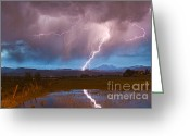Typhoon Greeting Cards - Lightning Striking Longs Peak Foothills 2 Greeting Card by James Bo Insogna