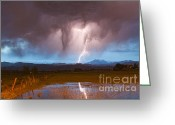 Typhoon Greeting Cards - Lightning Striking Longs Peak Foothills 3 Greeting Card by James Bo Insogna