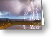 Typhoon Greeting Cards - Lightning Striking Longs Peak Foothills 4 Greeting Card by James Bo Insogna
