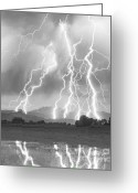 Black And White Photos Photo Greeting Cards - Lightning Striking Longs Peak Foothills 4CBW Greeting Card by James Bo Insogna