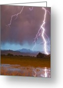 Typhoon Greeting Cards - Lightning Striking Longs Peak Foothills 5 Crop Greeting Card by James Bo Insogna