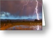 Typhoon Greeting Cards - Lightning Striking Longs Peak Foothills 5 Greeting Card by James Bo Insogna