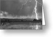 Typhoon Greeting Cards - Lightning Striking Longs Peak Foothills 5BW Greeting Card by James Bo Insogna