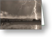 Typhoon Greeting Cards - Lightning Striking Longs Peak Foothills 5BW Sepia Greeting Card by James Bo Insogna