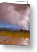 Typhoon Greeting Cards - Lightning Striking Longs Peak Foothills 7C Greeting Card by James Bo Insogna