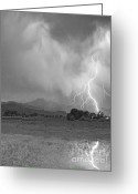 Typhoon Greeting Cards - Lightning Striking Longs Peak Foothills 7CBW Greeting Card by James Bo Insogna