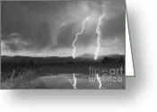 Typhoon Greeting Cards - Lightning Striking Longs Peak Foothills BW Greeting Card by James Bo Insogna