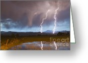 Typhoon Greeting Cards - Lightning Striking Longs Peak Foothills Greeting Card by James Bo Insogna