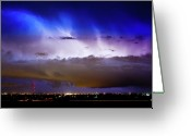 Lightning Weather Stock Images Greeting Cards - Lightning Thunder Head Cloud Burst Boulder County Colorado IM39 Greeting Card by James Bo Insogna