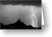Rain Storms Greeting Cards - Lightning Thunderstorm at Pinnacle Peak BW Greeting Card by James Bo Insogna
