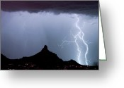 Typhoon Greeting Cards - Lightning Thunderstorm at Pinnacle Peak Greeting Card by James Bo Insogna