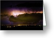Lightning Weather Stock Images Greeting Cards - Lightning Thunderstorm Cloud Burst Greeting Card by James Bo Insogna